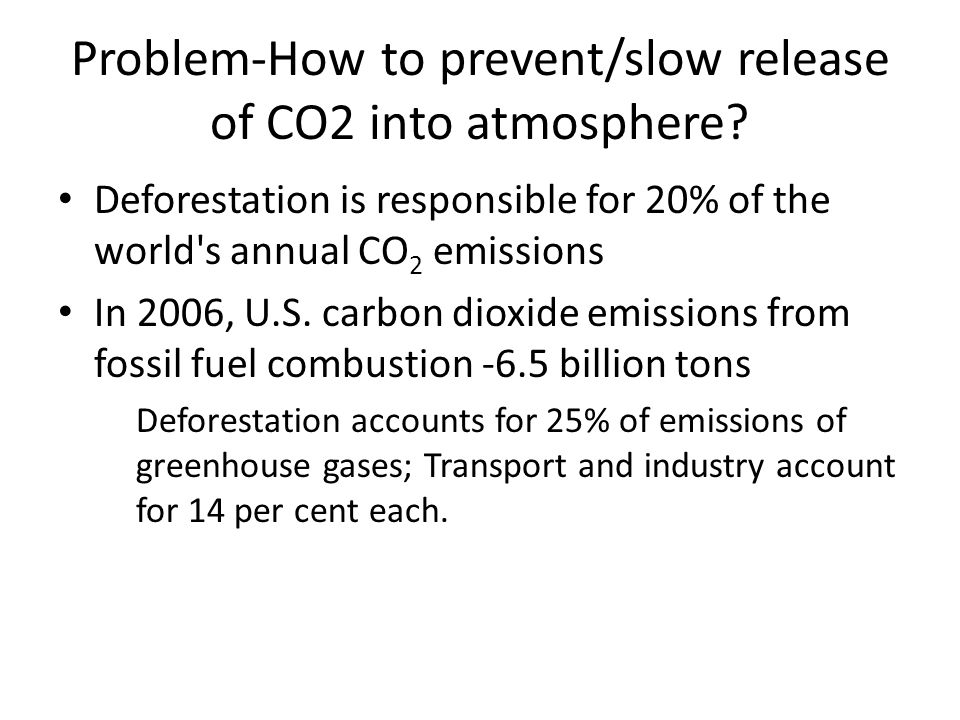 Problem-How to prevent/slow release of CO2 into atmosphere.