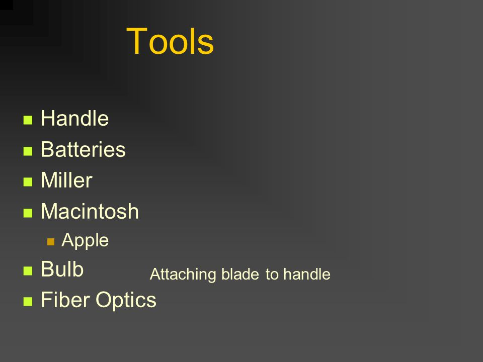 Tools Handle Batteries Miller Macintosh Apple Bulb Fiber Optics Attaching blade to handle