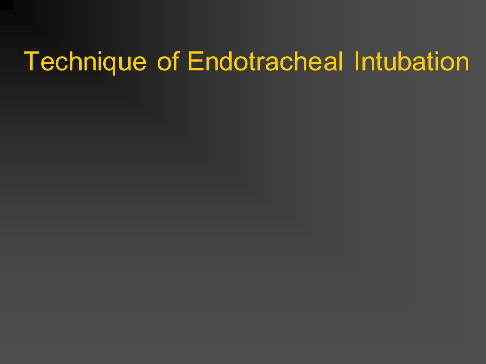 Technique of Endotracheal Intubation