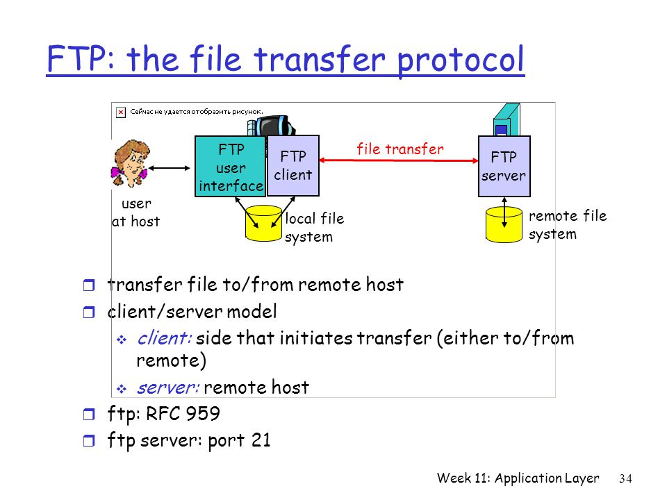 Week 11: Application Layer34 FTP: the file transfer protocol r transfer file to/from remote host r client/server model  client: side that initiates transfer (either to/from remote)  server: remote host r ftp: RFC 959 r ftp server: port 21 file transfer FTP server FTP user interface FTP client local file system remote file system user at host