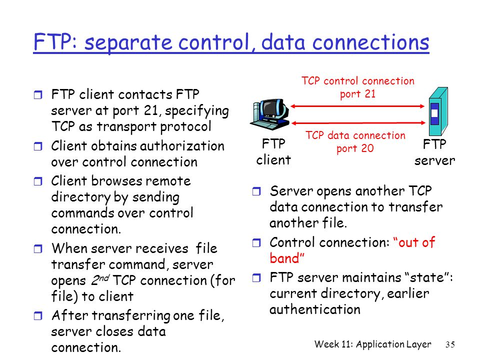 Week 11: Application Layer35 FTP: separate control, data connections r FTP client contacts FTP server at port 21, specifying TCP as transport protocol r Client obtains authorization over control connection r Client browses remote directory by sending commands over control connection.