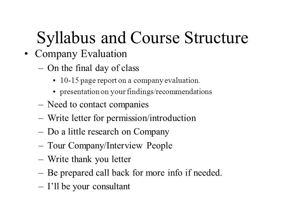 syllabus evaluation
