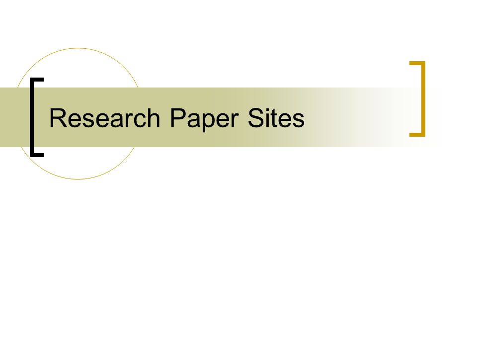 Research Paper Sites