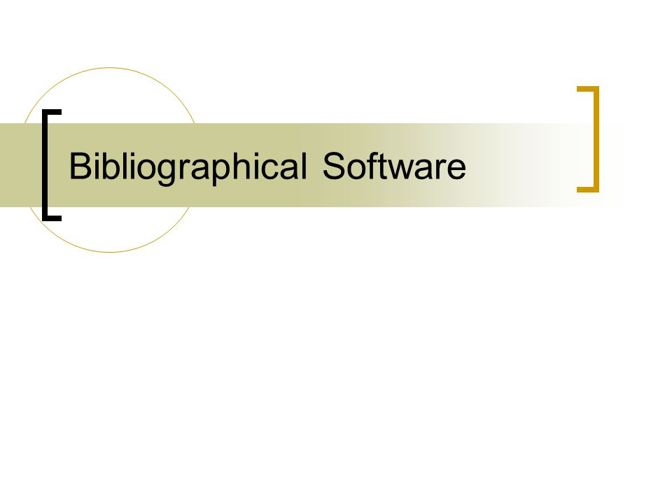 Bibliographical Software