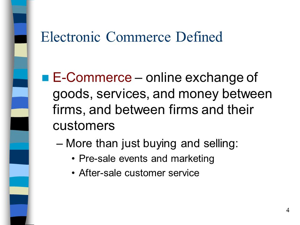 5 Electronic Commerce Defined E-Commerce –Business-to-Consumer (B2C) –Business-to-Business (B2B) –Business-to-Employee (B2E) –Consumer-to-Consumer (C2C)