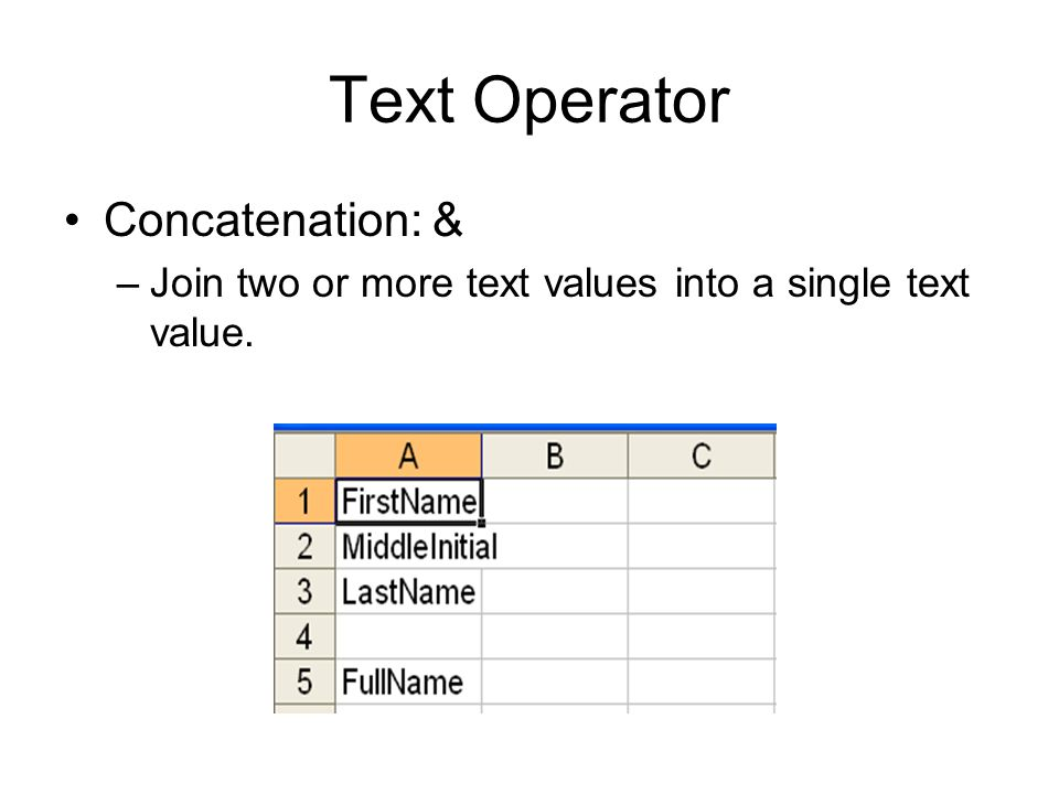 Text Operator Concatenation: & –Join two or more text values into a single text value.