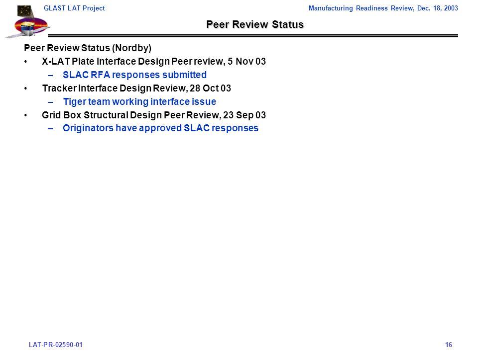 LAT-PR-02590-0116 GLAST LAT ProjectManufacturing Readiness Review, Dec.