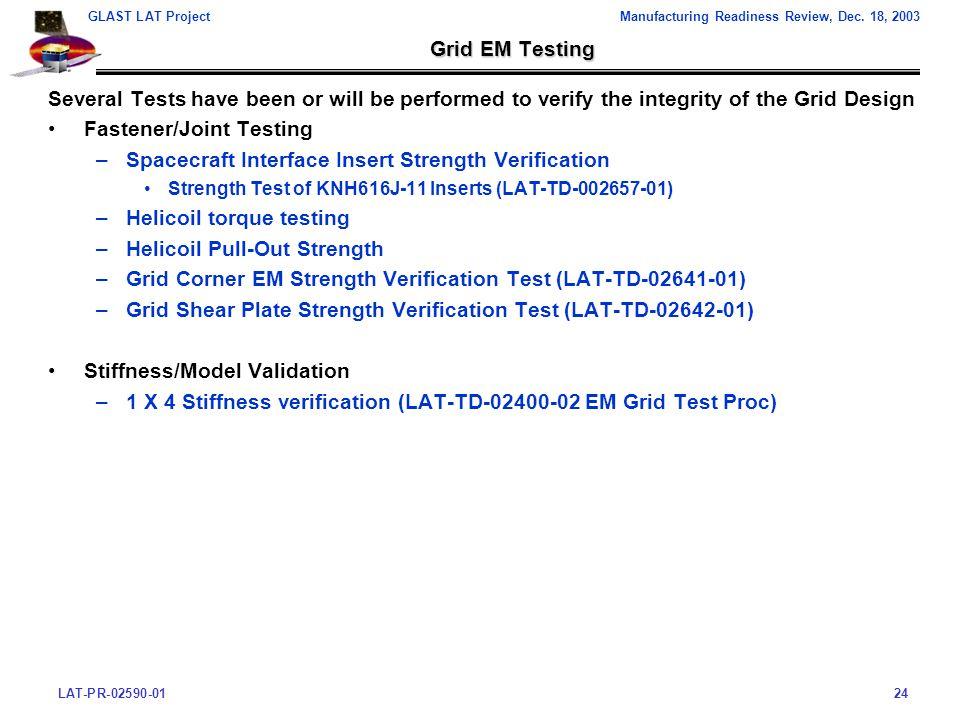 LAT-PR-02590-0124 GLAST LAT ProjectManufacturing Readiness Review, Dec.