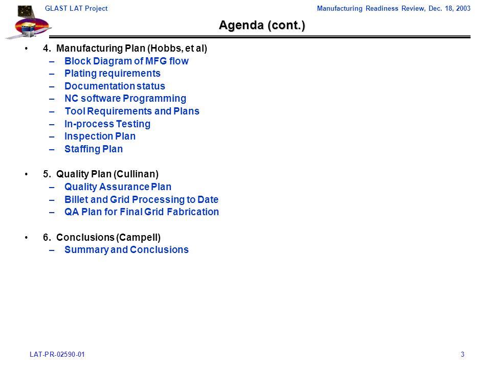 LAT-PR-02590-013 GLAST LAT ProjectManufacturing Readiness Review, Dec.