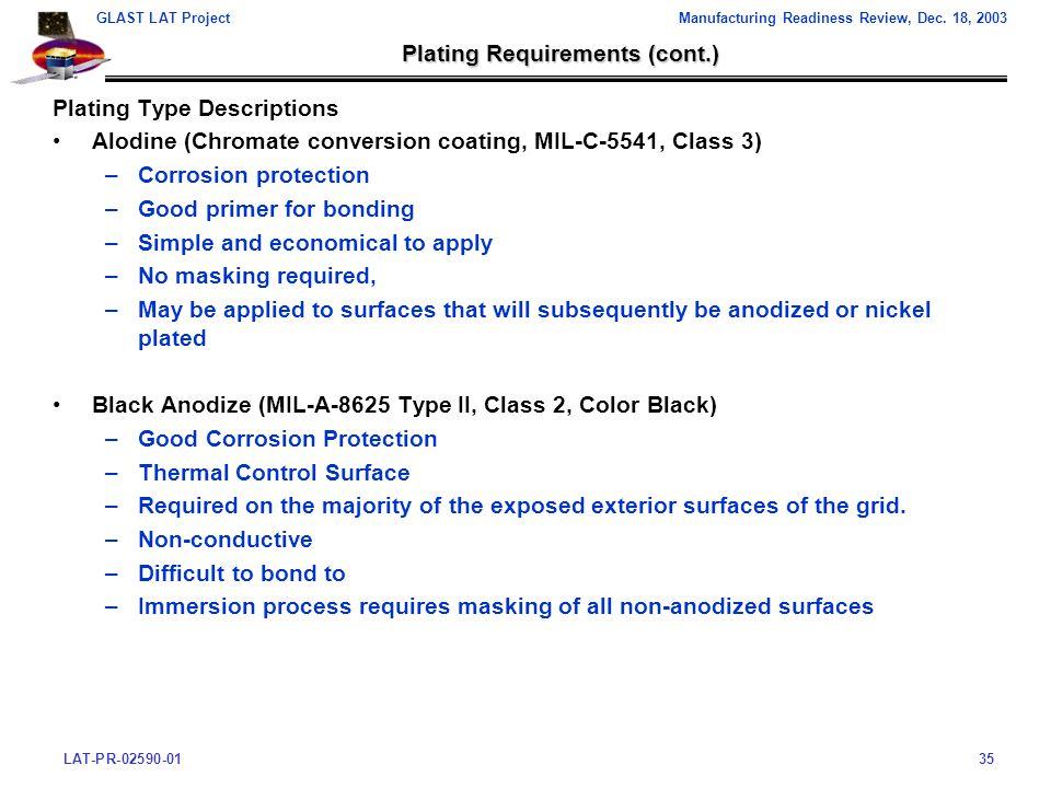 LAT-PR-02590-0135 GLAST LAT ProjectManufacturing Readiness Review, Dec.