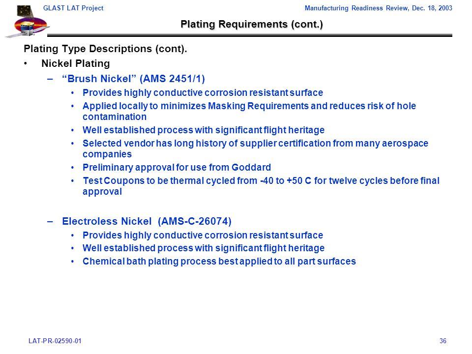 LAT-PR-02590-0136 GLAST LAT ProjectManufacturing Readiness Review, Dec.
