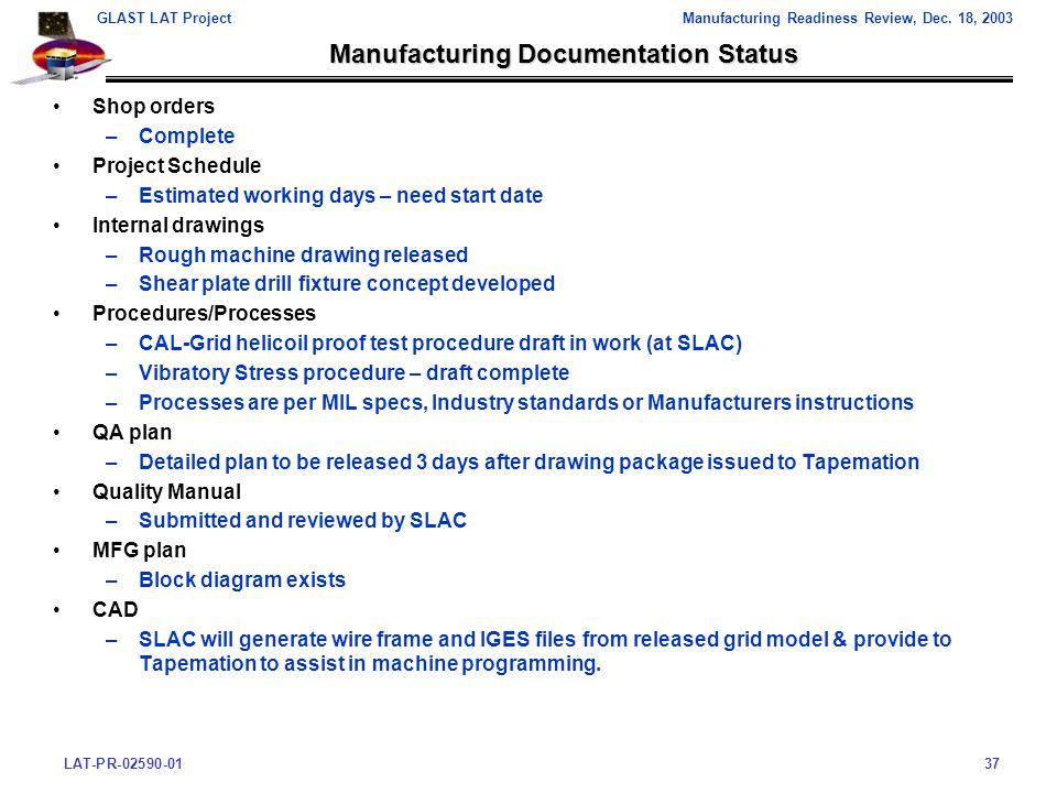 LAT-PR-02590-0137 GLAST LAT ProjectManufacturing Readiness Review, Dec.