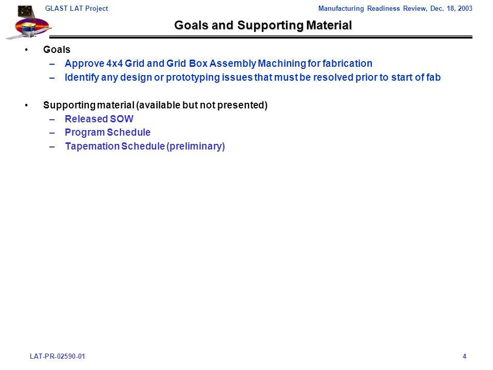 LAT-PR-02590-014 GLAST LAT ProjectManufacturing Readiness Review, Dec.