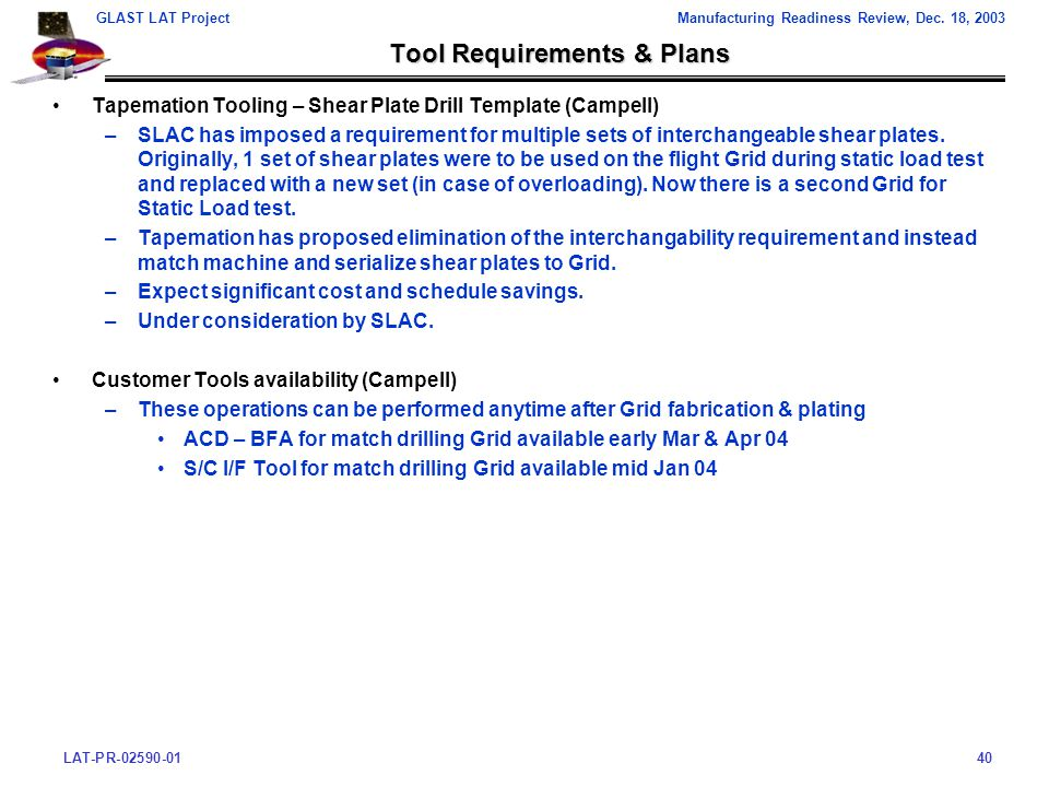 LAT-PR-02590-0140 GLAST LAT ProjectManufacturing Readiness Review, Dec.