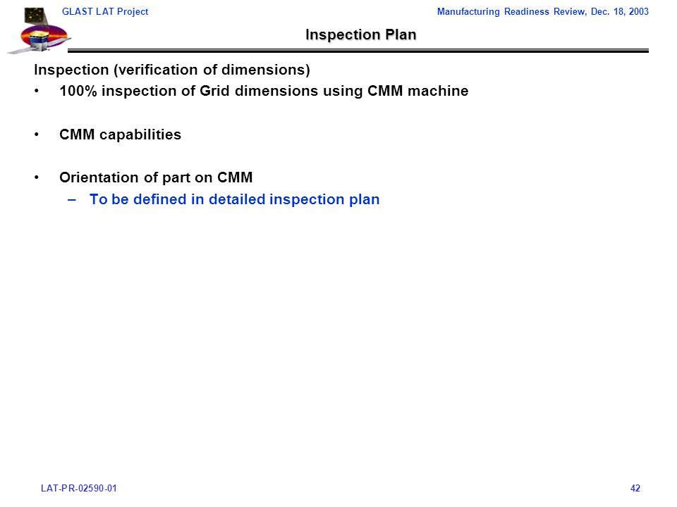 LAT-PR-02590-0142 GLAST LAT ProjectManufacturing Readiness Review, Dec.