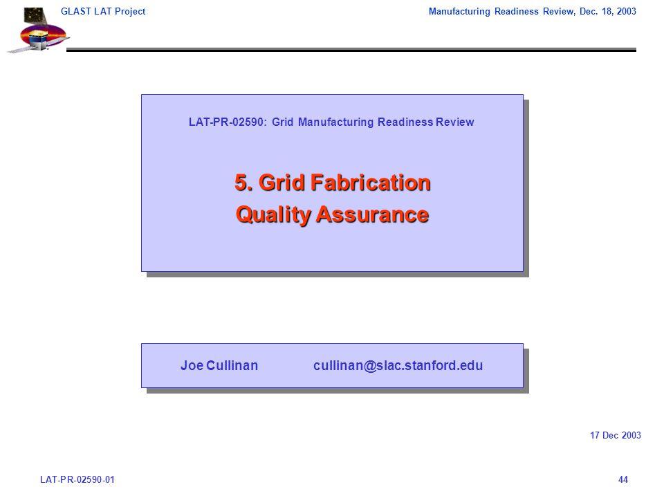 LAT-PR-02590-0144 GLAST LAT ProjectManufacturing Readiness Review, Dec.