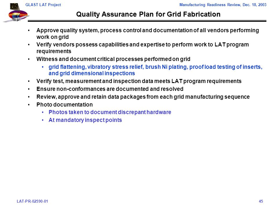 LAT-PR-02590-0145 GLAST LAT ProjectManufacturing Readiness Review, Dec.
