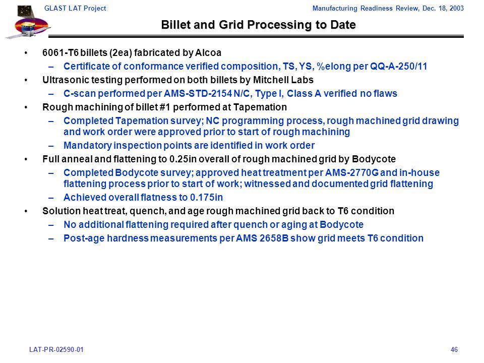 LAT-PR-02590-0146 GLAST LAT ProjectManufacturing Readiness Review, Dec.