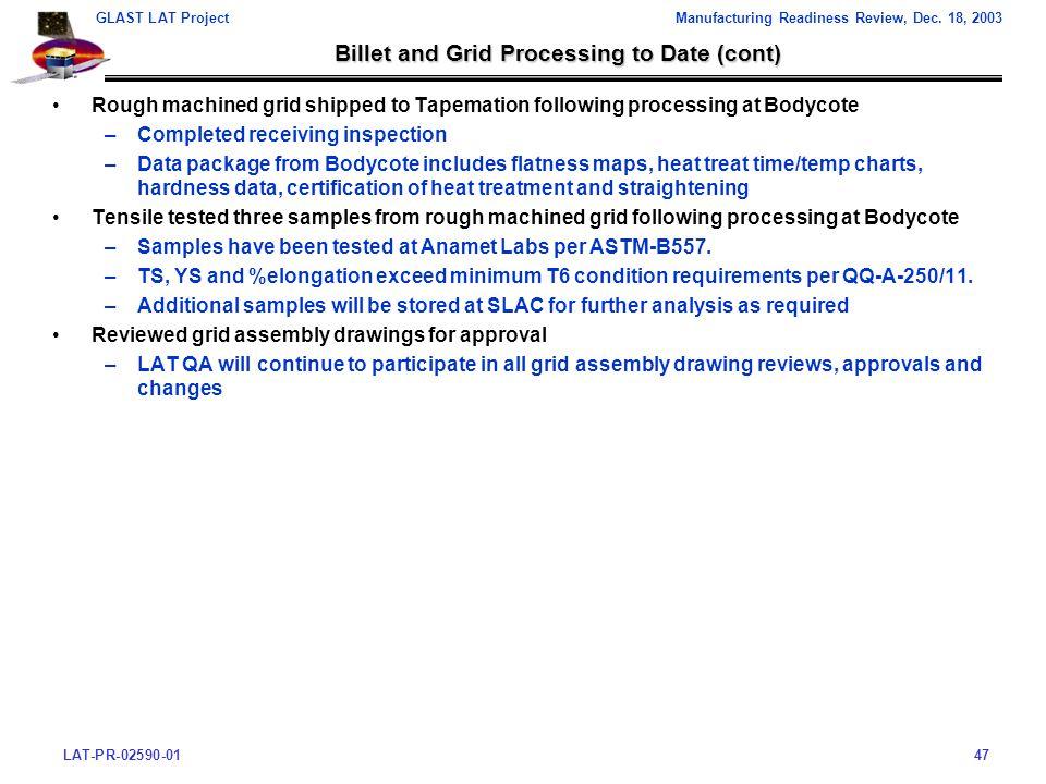 LAT-PR-02590-0147 GLAST LAT ProjectManufacturing Readiness Review, Dec.