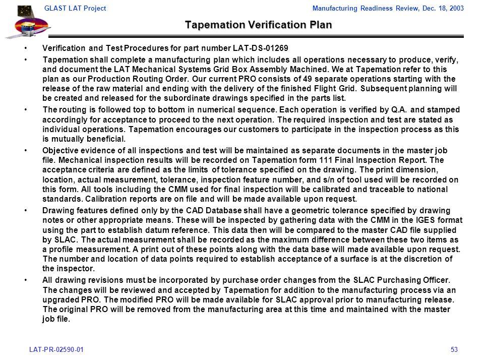 LAT-PR-02590-0153 GLAST LAT ProjectManufacturing Readiness Review, Dec.