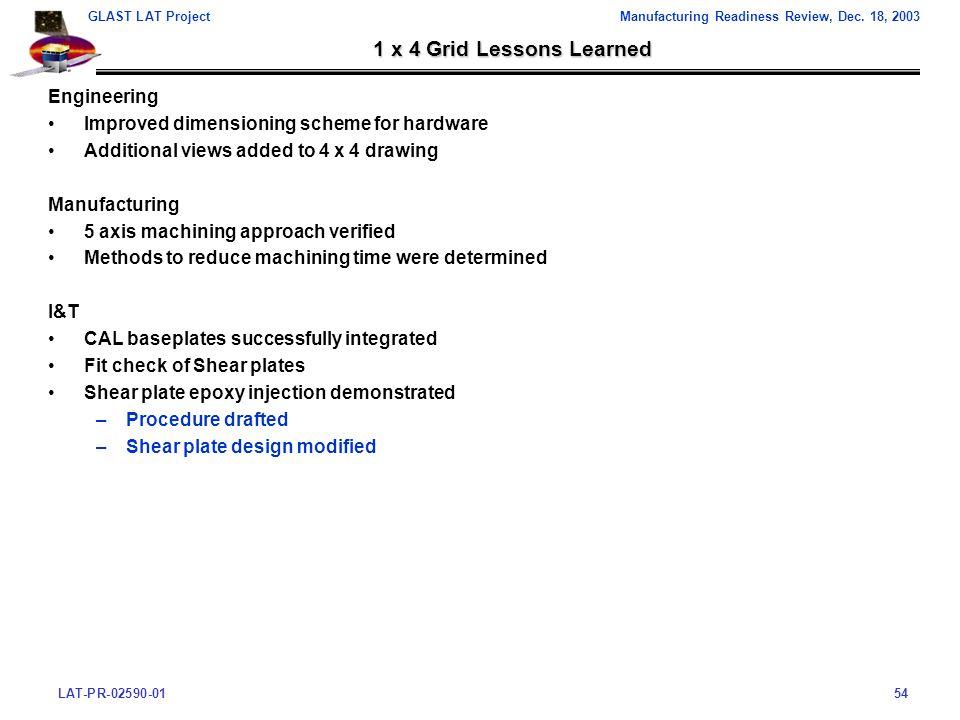 LAT-PR-02590-0154 GLAST LAT ProjectManufacturing Readiness Review, Dec.