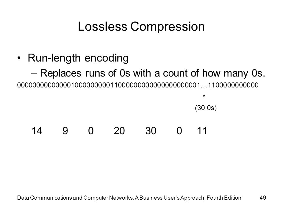 Data Communications and Computer Networks: A Business User s Approach, Fourth Edition49 Lossless Compression Run-length encoding –Replaces runs of 0s with a count of how many 0s.