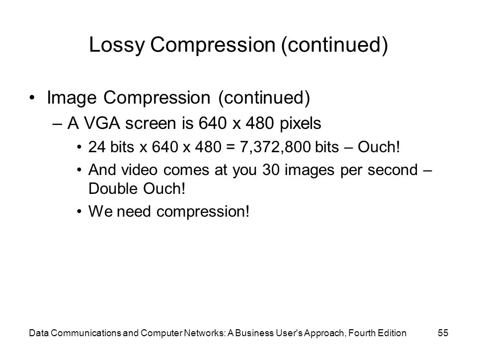 Data Communications and Computer Networks: A Business User s Approach, Fourth Edition55 Lossy Compression (continued) Image Compression (continued) –A VGA screen is 640 x 480 pixels 24 bits x 640 x 480 = 7,372,800 bits – Ouch.