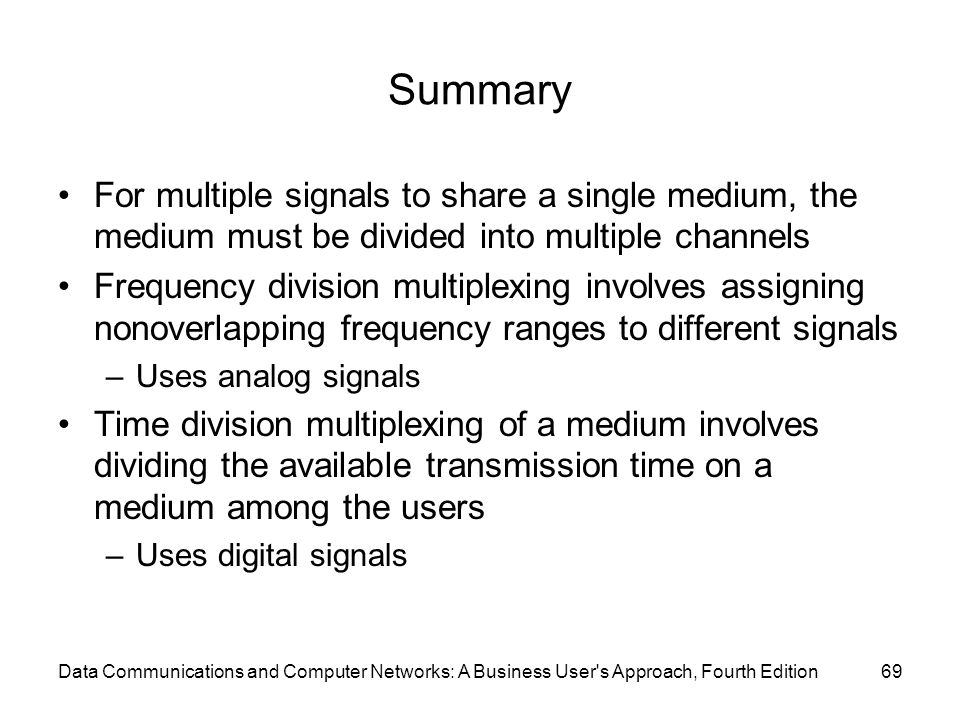 Data Communications and Computer Networks: A Business User s Approach, Fourth Edition69 Summary For multiple signals to share a single medium, the medium must be divided into multiple channels Frequency division multiplexing involves assigning nonoverlapping frequency ranges to different signals –Uses analog signals Time division multiplexing of a medium involves dividing the available transmission time on a medium among the users –Uses digital signals