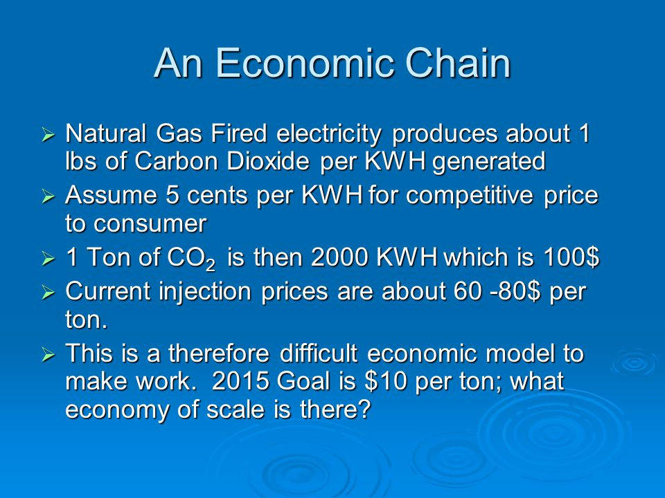 An Economic Chain  Natural Gas Fired electricity produces about 1 lbs of Carbon Dioxide per KWH generated  Assume 5 cents per KWH for competitive price to consumer  1 Ton of CO 2 is then 2000 KWH which is 100$  Current injection prices are about $ per ton.