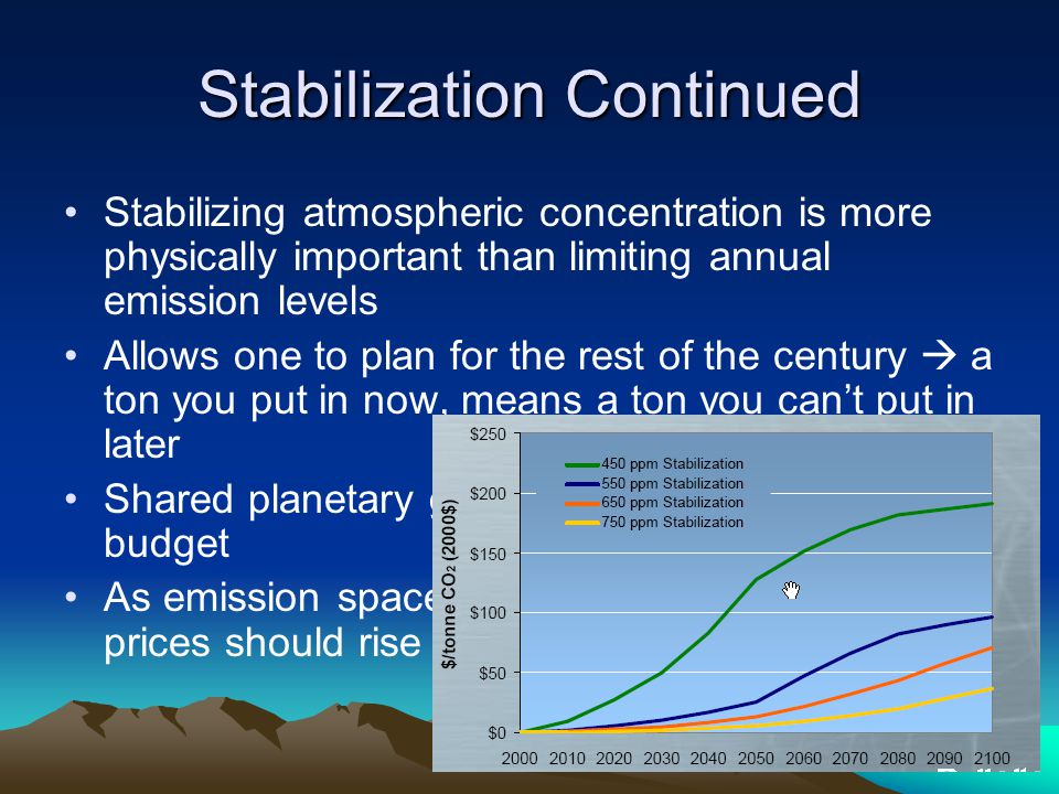 Stabilization Continued Stabilizing atmospheric concentration is more physically important than limiting annual emission levels Allows one to plan for the rest of the century  a ton you put in now, means a ton you can't put in later Shared planetary greenhouse gas emissions budget As emission space dwindles, emission permit prices should rise