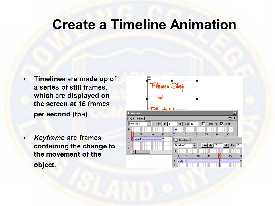 Create a Timeline Animation Timelines are made up of a series of still frames, which are displayed on the screen at 15 frames per second (fps).