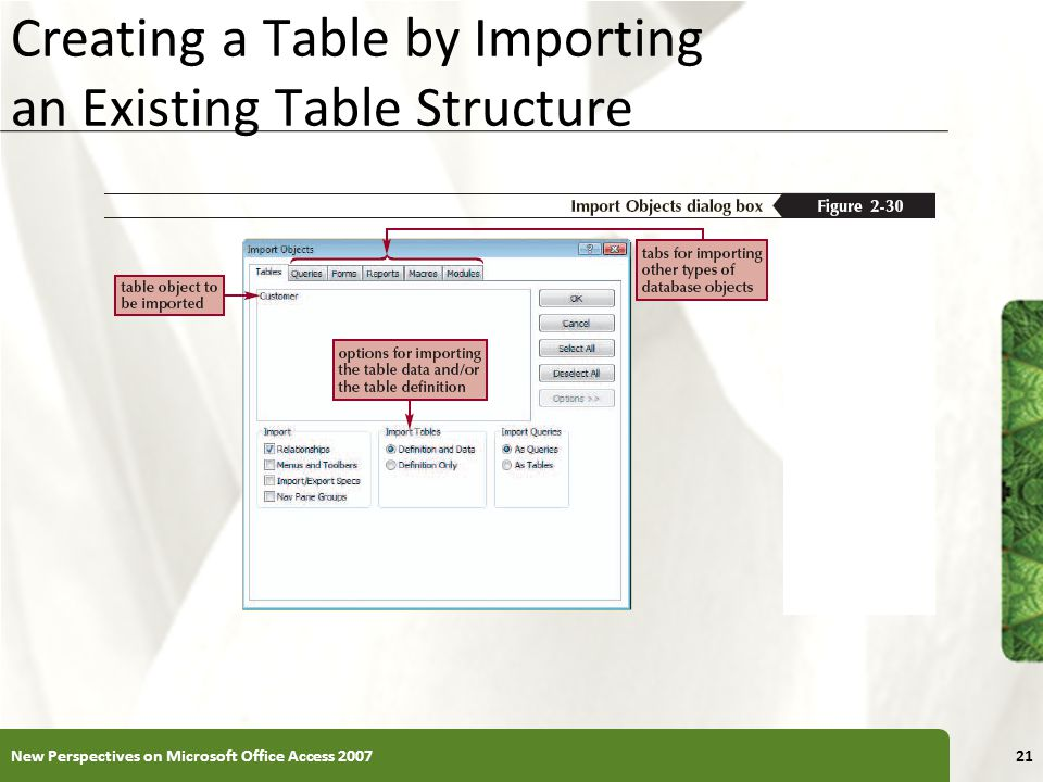 XP Creating a Table by Importing an Existing Table Structure New Perspectives on Microsoft Office Access