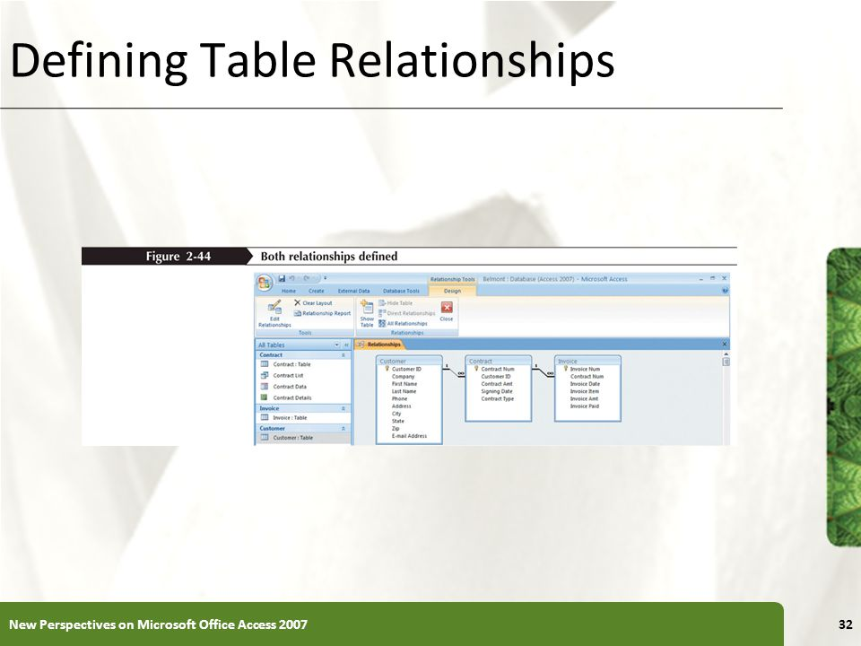 XP Defining Table Relationships New Perspectives on Microsoft Office Access