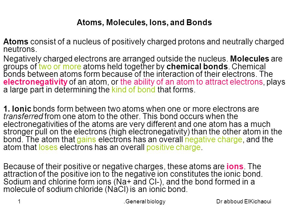 Dr abboud ElKichaouiGeneral biology.1 Atoms, Molecules, Ions, and ...