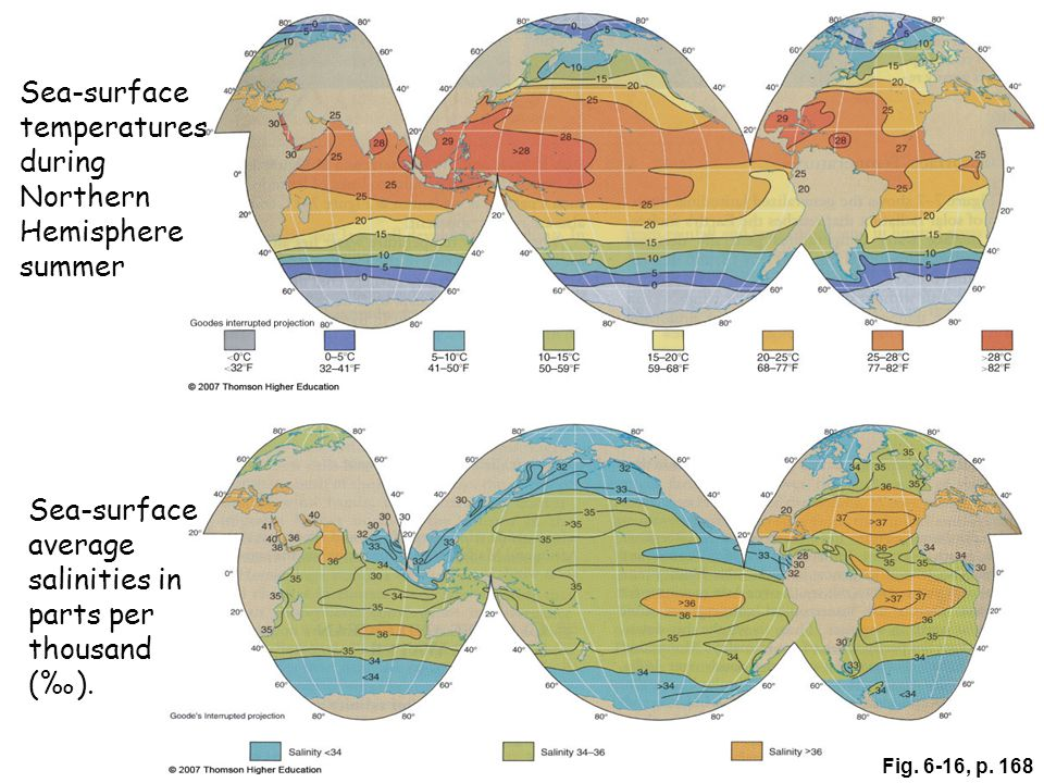 Fig. 6-16, p. 168 Sea-surface average salinities in parts per thousand (‰).
