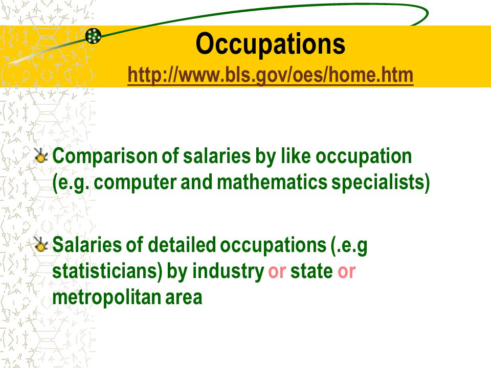 Occupations     Comparison of salaries by like occupation (e.g.