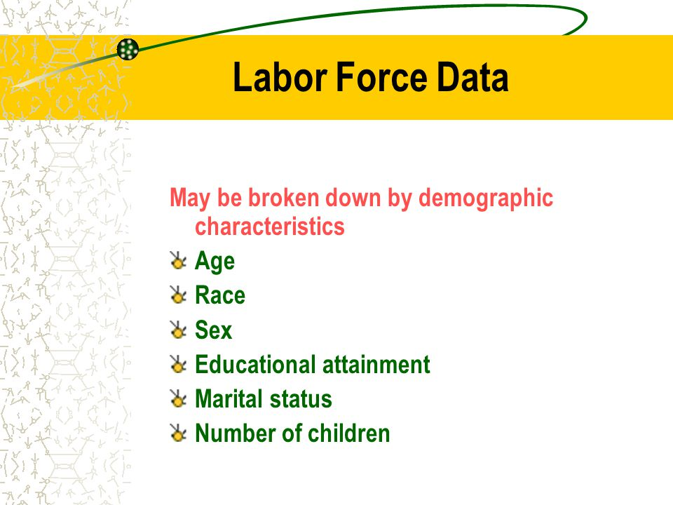 Labor Force Data May be broken down by demographic characteristics Age Race Sex Educational attainment Marital status Number of children