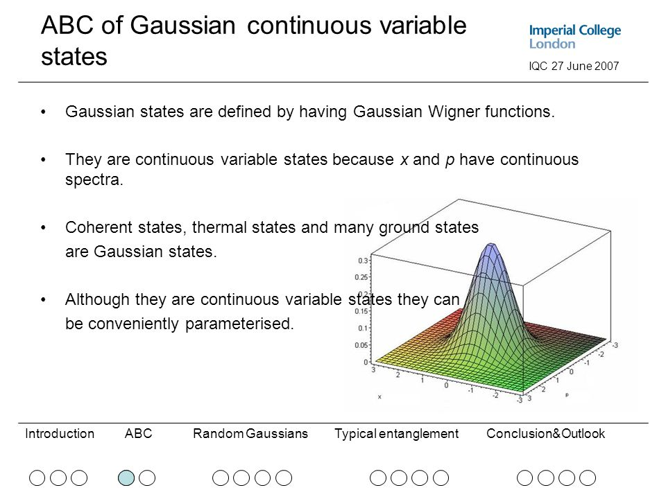 ABCRandom GaussiansConclusion&OutlookIntroductionTypical entanglement IQC 27 June 2007 ABC of Gaussian continuous variable states Gaussian states are defined by having Gaussian Wigner functions.
