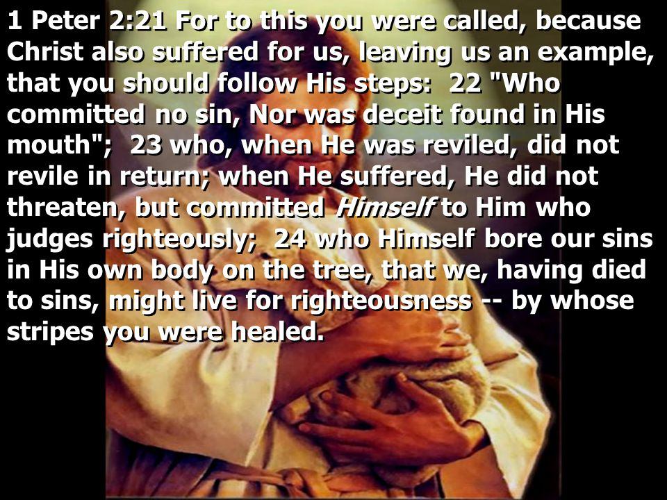 1 Peter 2:21 For to this you were called, because Christ also suffered for us, leaving us an example, that you should follow His steps: 22 Who committed no sin, Nor was deceit found in His mouth ; 23 who, when He was reviled, did not revile in return; when He suffered, He did not threaten, but committed Himself to Him who judges righteously; 24 who Himself bore our sins in His own body on the tree, that we, having died to sins, might live for righteousness -- by whose stripes you were healed.