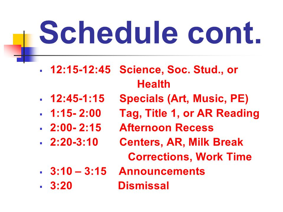 Schedule cont.  12:15-12:45 Science, Soc.
