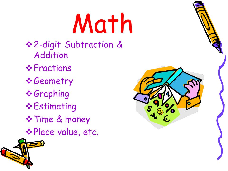 Math  2-digit Subtraction & Addition  Fractions  Geometry  Graphing  Estimating  Time & money  Place value, etc.