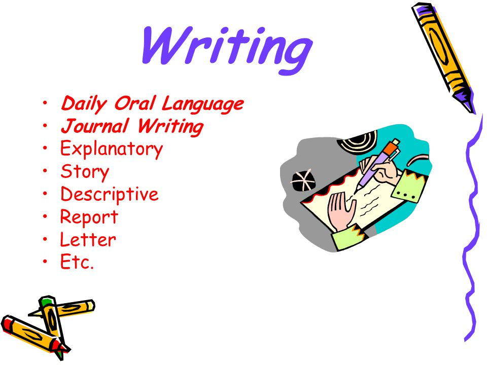 Writing Daily Oral Language Journal Writing Explanatory Story Descriptive Report Letter Etc.