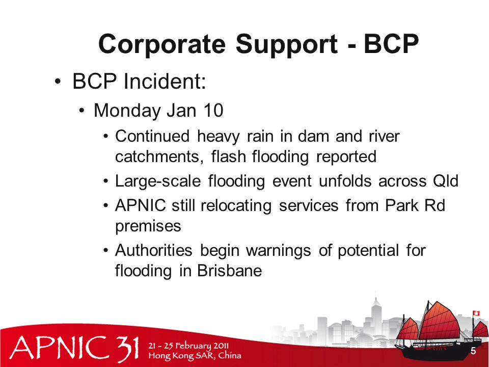 Corporate Support - BCP BCP Incident: Monday Jan 10 Continued heavy rain in dam and river catchments, flash flooding reported Large-scale flooding event unfolds across Qld APNIC still relocating services from Park Rd premises Authorities begin warnings of potential for flooding in Brisbane 5