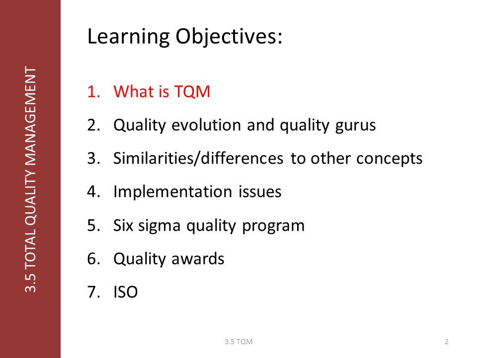 MOS 330: Operations Management Professor Burjaw Fall/Winter 2009-10 3.5 Total Quality Management 13.5 TQM