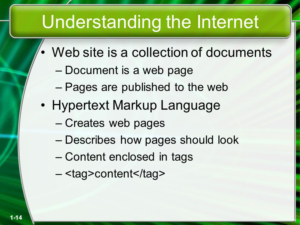 1-14 Understanding the Internet Web site is a collection of documents –Document is a web page –Pages are published to the web Hypertext Markup Language –Creates web pages –Describes how pages should look –Content enclosed in tags – content
