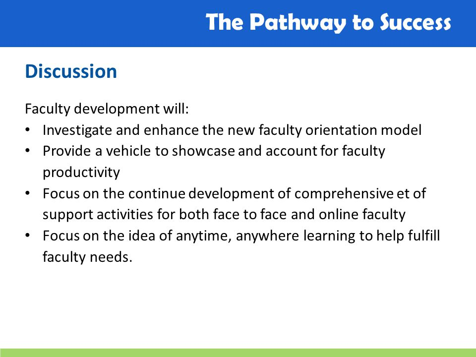 The Pathway to Success Discussion Faculty development will: Investigate and enhance the new faculty orientation model Provide a vehicle to showcase and account for faculty productivity Focus on the continue development of comprehensive et of support activities for both face to face and online faculty Focus on the idea of anytime, anywhere learning to help fulfill faculty needs.