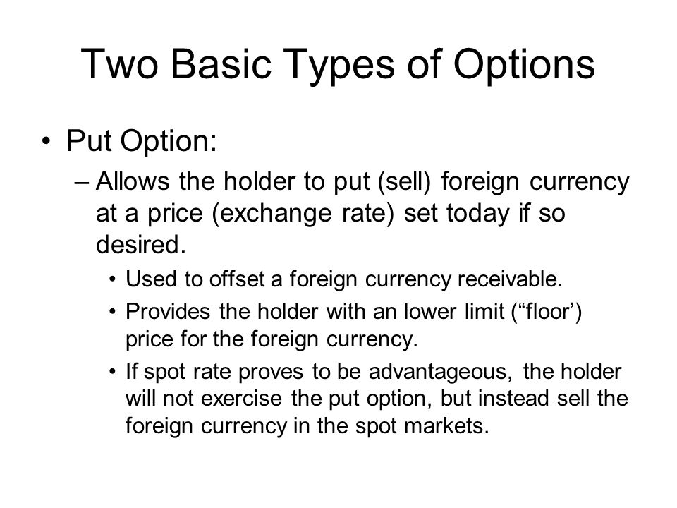 Two Basic Types of Options Put Option: –Allows the holder to put (sell) foreign currency at a price (exchange rate) set today if so desired.