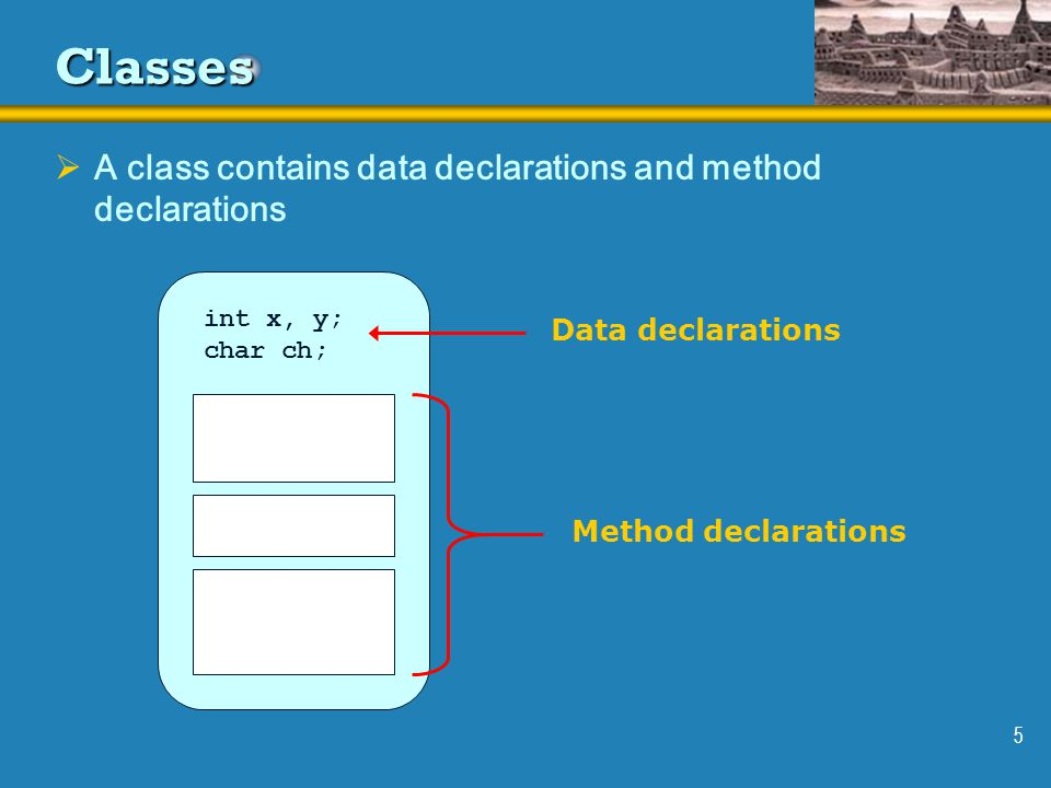 5 Classes  A class contains data declarations and method declarations int x, y; char ch; Data declarations Method declarations