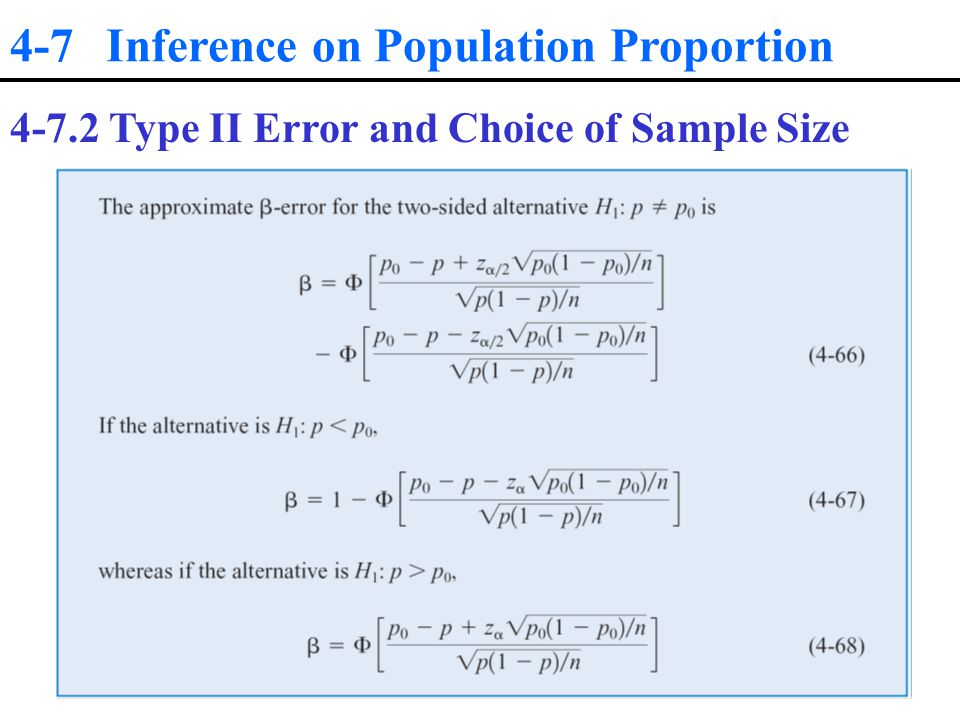 4-7 Inference on Population Proportion Type II Error and Choice of Sample Size