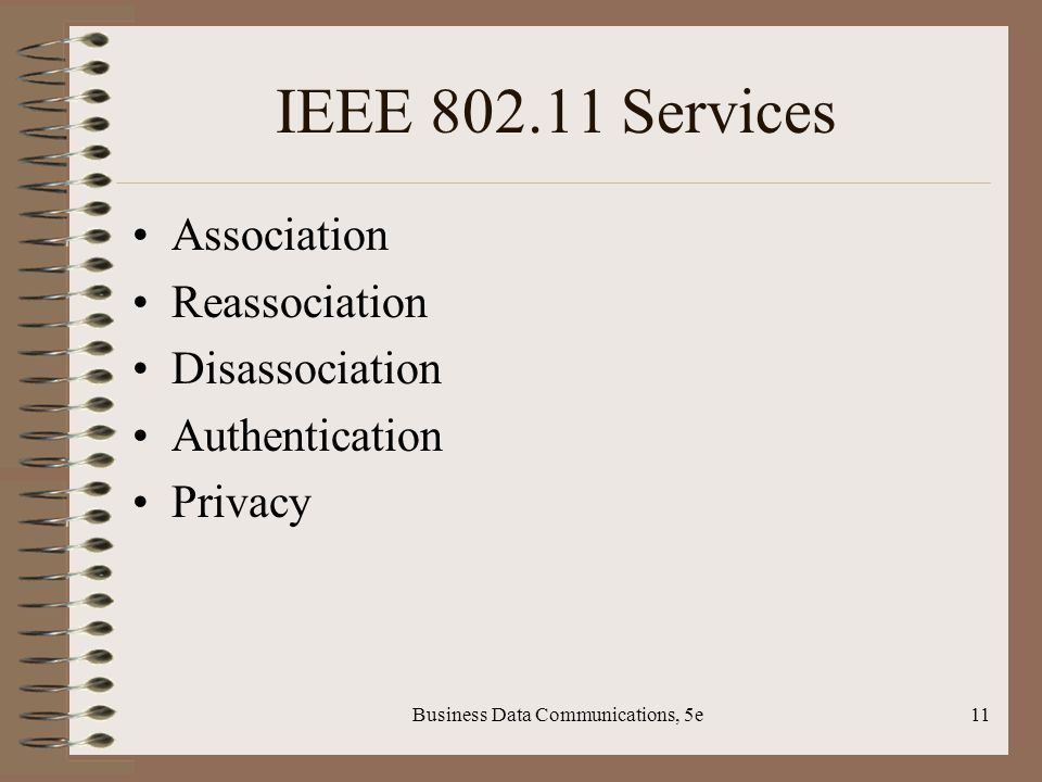 Business Data Communications, 5e11 IEEE Services Association Reassociation Disassociation Authentication Privacy